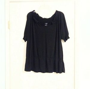 Lane Bryant Black Rouched Sleeve Blouse